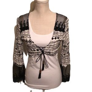 Millau crop top, lace up bodice . Xs. NWT